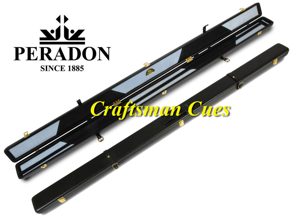 1pc Peradon real leather cue case Black (Holds 2 cues)