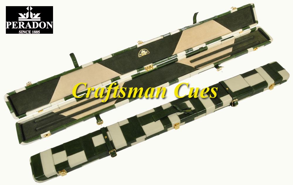 Peradon Green Amp Cream Patchwork Real Leather 3 4 Cue Case