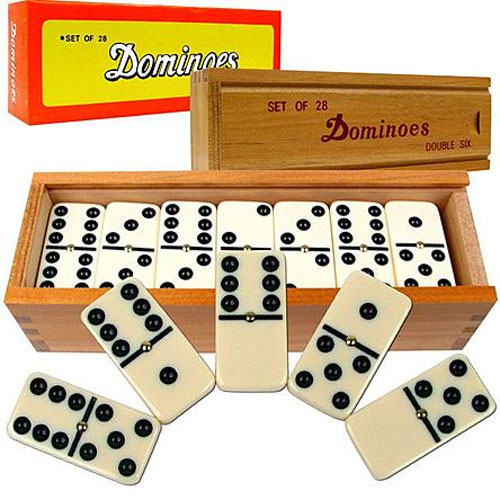 Double six Domino set in wooden case