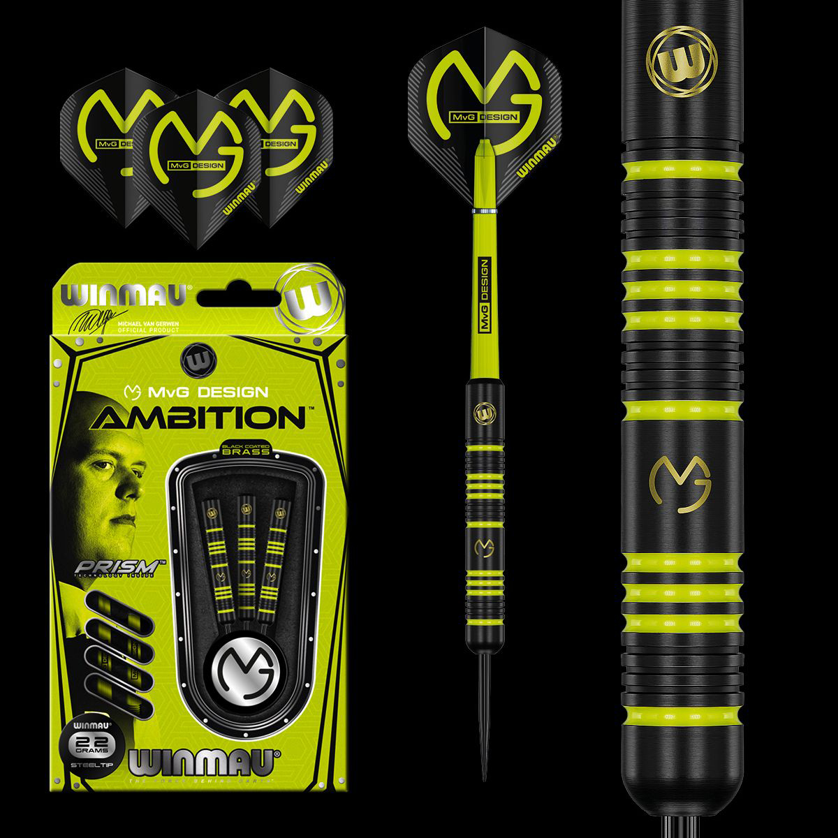 MvG Ambition Black Coated Brass Darts 22g
